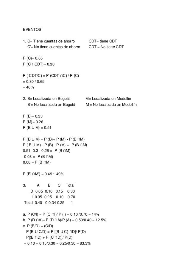 EVENTOS 1. C= Tiene cuentas de ahorro CDT= tiene CDT C'= No tiene cuentas de ahorro CDT'= No tiene CDT P (C)= 0.65 P (C ∩C...