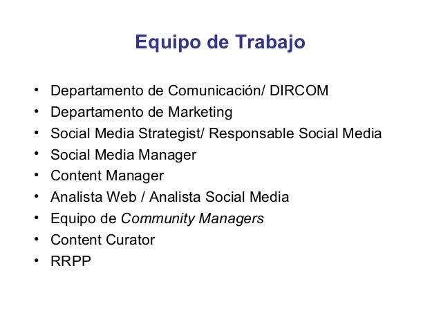 Función del Social Media Manager• Ejecución de la estrategia de comunicación 2.0 en la  organización, siguiendo el plan es...