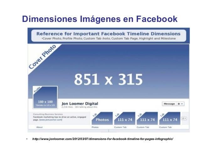 Dimensiones Imágenes en Facebook•   http://www.jonloomer.com/2012/03/07/dimensions-for-facebook-timeline-for-pages-infogra...