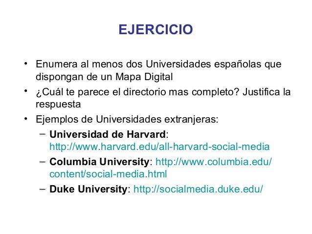 EJERCICIO• Enumera al menos dos Universidades españolas que  dispongan de un Mapa Digital• ¿Cuál te parece el directorio m...