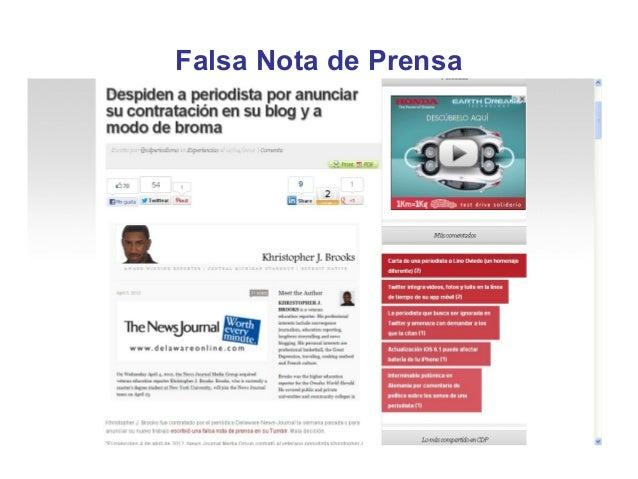 Falsa Nota de Prensa
