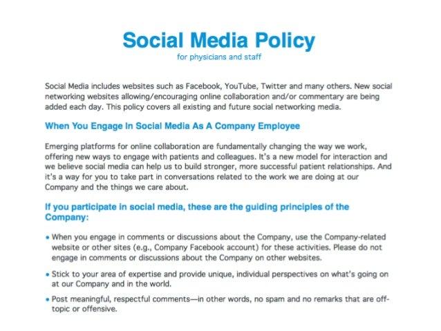 Política para Social Media - Estructura•   Declaración: Se define cual es el alcance del documento•   Definiciones y termi...