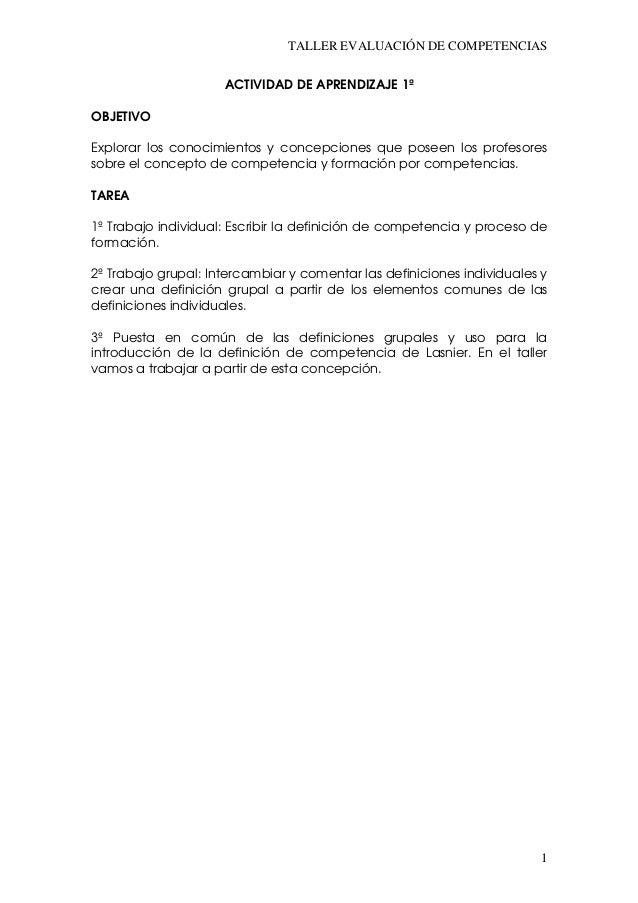 TALLER EVALUACIÓN DE COMPETENCIAS                     ACTIVIDAD DE APRENDIZAJE 1ªOBJETIVOExplorar los conocimientos y conc...