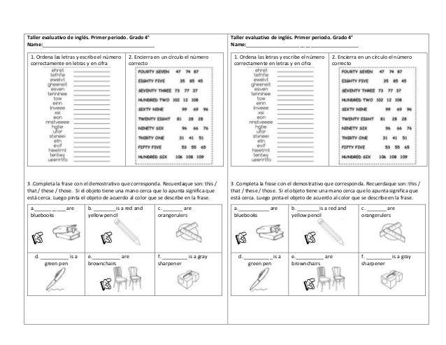 Taller evaluativo inglés