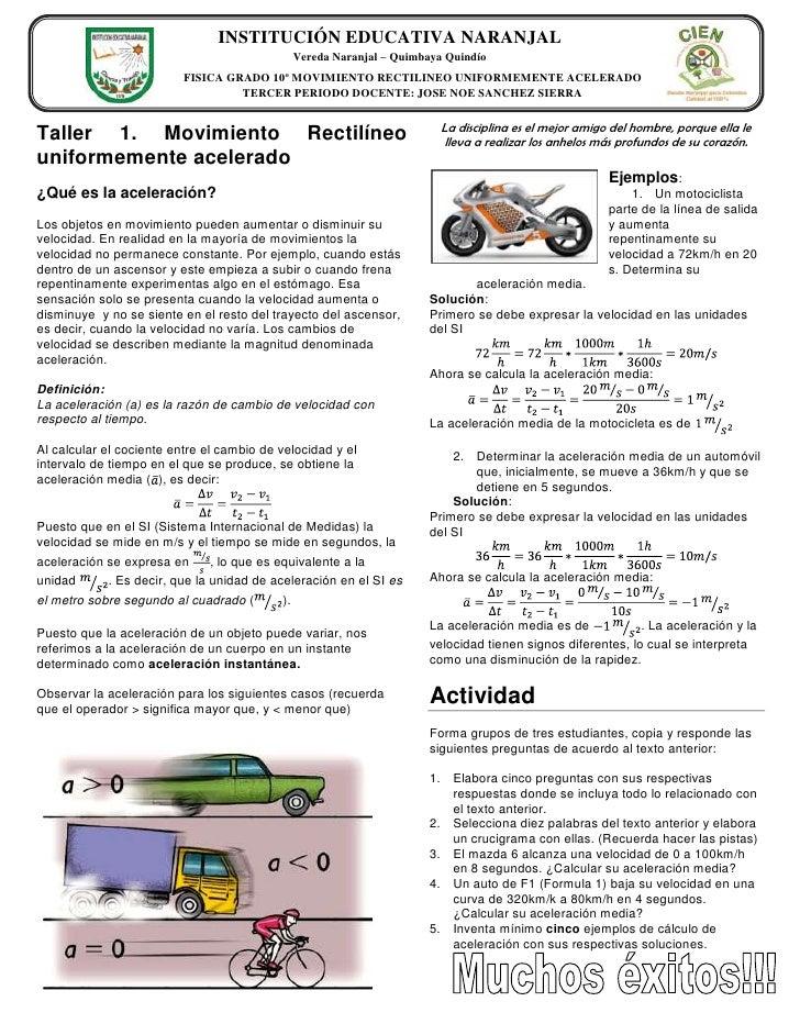 Taller 1. Movimiento Rectilíneo uniformemente acelerado<br />383540015240<br />¿Qué es la aceleración?<br />Los objetos en...