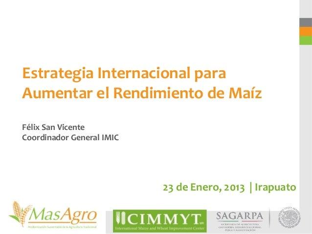 Estrategia Internacional paraAumentar el Rendimiento de MaízFélix San VicenteCoordinador General IMIC                     ...