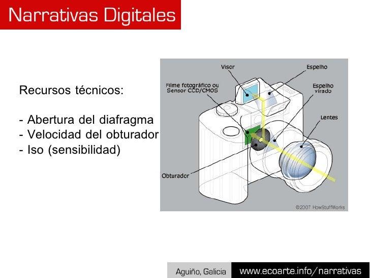 Recursos técnicos: - Abertura del diafragma - Velocidad del obturador - Iso (sensibilidad)
