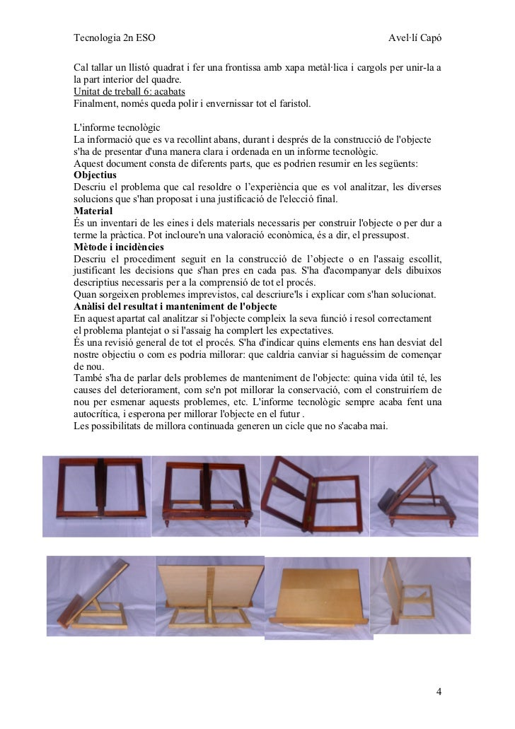 Tecnologia 2n ESO                                                             Avel·lí CapóCal tallar un llistó quadrat i f...
