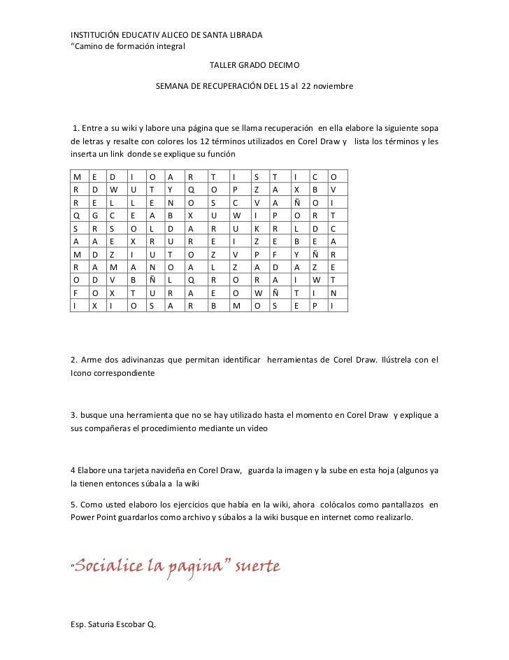 """INSTITUCIÓN EDUCATIV ALICEO DE SANTA LIBRADA""""Camino de formación integral                                     TALLER GRADO..."""