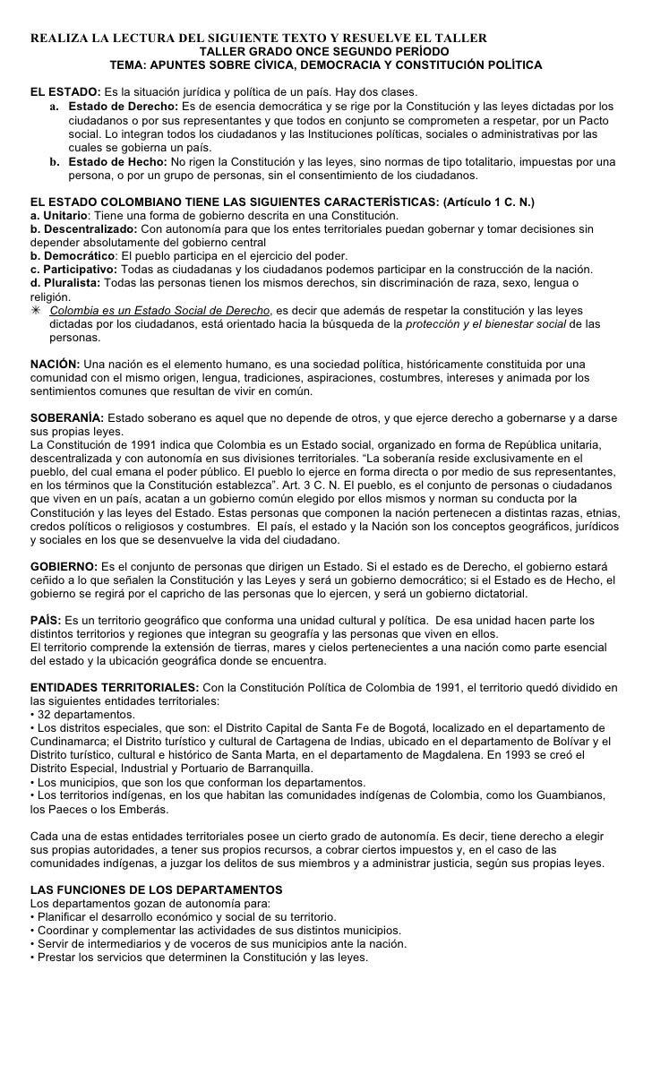 REALIZA LA LECTURA DEL SIGUIENTE TEXTO Y RESUELVE EL TALLER                           TALLER GRADO ONCE SEGUNDO PERÍODO   ...