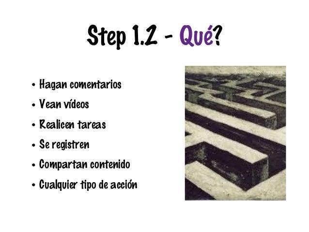 Step 1.2 - Qué? • Hagan comentarios • Vean vídeos • Realicen tareas • Se registren • Compartan contenido • Cualquier tipo ...