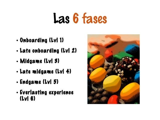 Las 6 fases • Onboarding (Lvl 1) • Late onboarding (Lvl 2) • Midgame (Lvl 3) • Late midgame (Lvl 4) • Endgame (Lvl 5) • Ev...