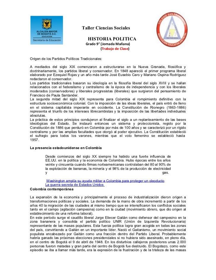 Taller Ciencias Sociales                                     HISTORIA POLITICA                                    Grado 9°...