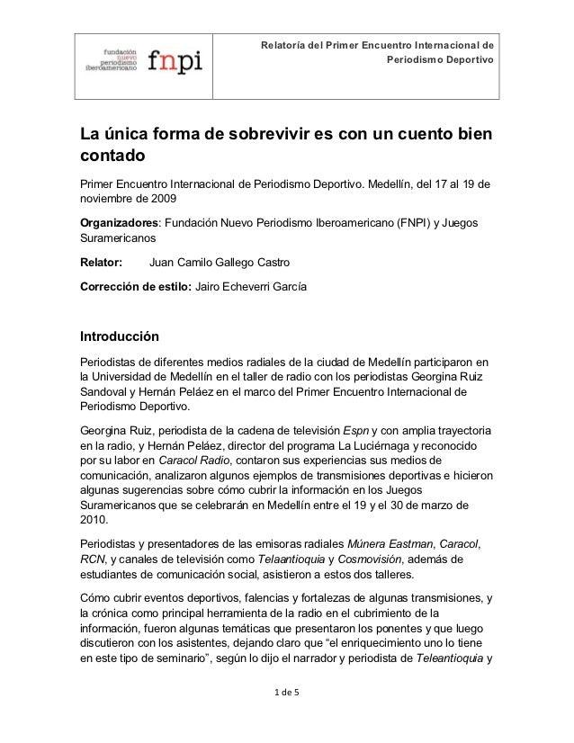 Relatoría del Primer Encuentro Internacional de                                                              Periodismo De...