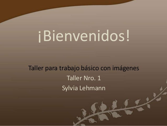 ¡Bienvenidos!Taller para trabajo básico con imágenesTaller Nro. 1Sylvia Lehmann