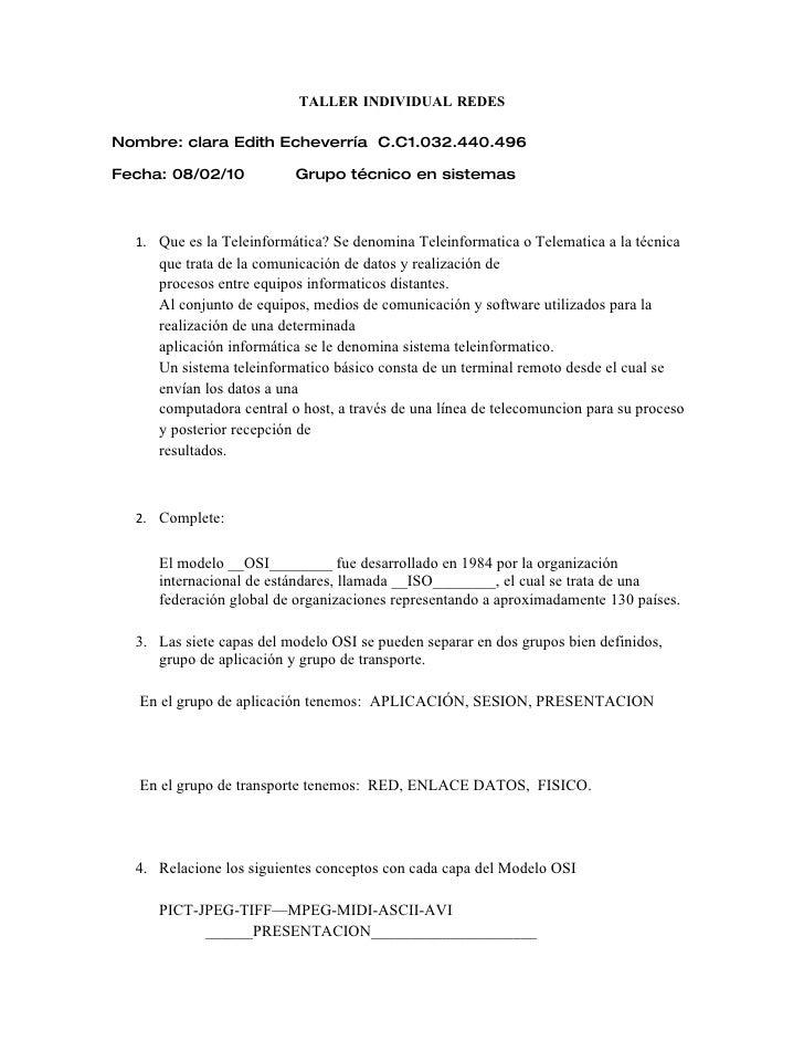 TALLER INDIVIDUAL REDES  Nombre: clara Edith Echeverría C.C1.032.440.496  Fecha: 08/02/10           Grupo técnico en siste...
