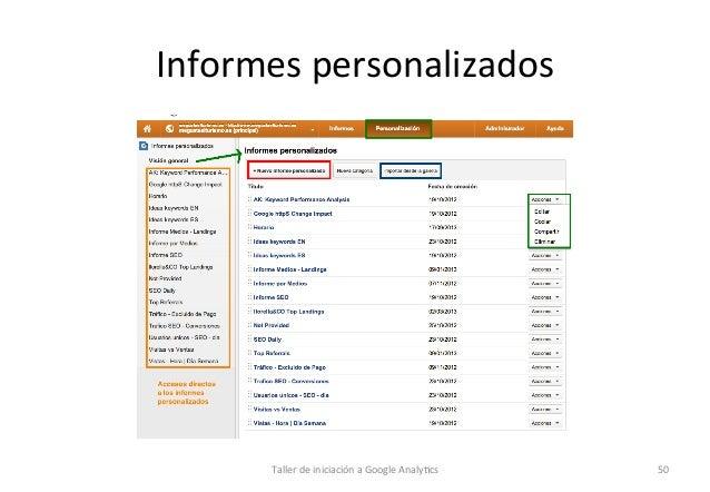 Informes  personalizados    Taller  de  iniciación  a  Google  Analy1cs    50