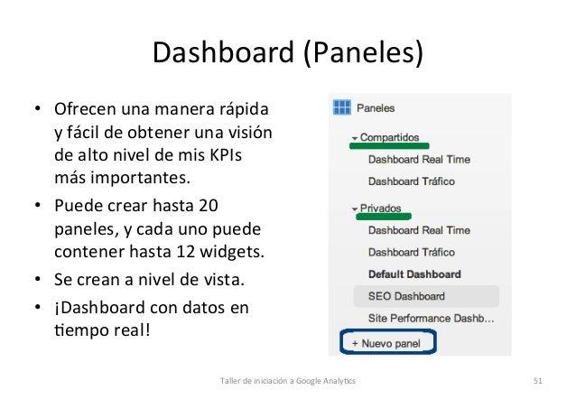 Dashboard  (Paneles)   • Ofrecen  una  manera  rápida   y  fácil  de  obtener  una  visión   de ...