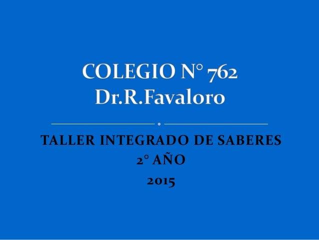 TALLER INTEGRADO DE SABERES 2° AÑO 2015
