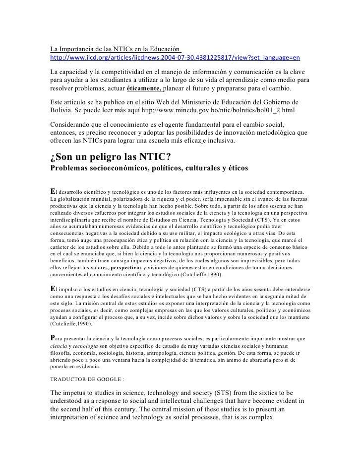 La Importancia de las NTICs en la Educación http://www.iicd.org/articles/iicdnews.2004-07-30.4381225817/view?set_language=...