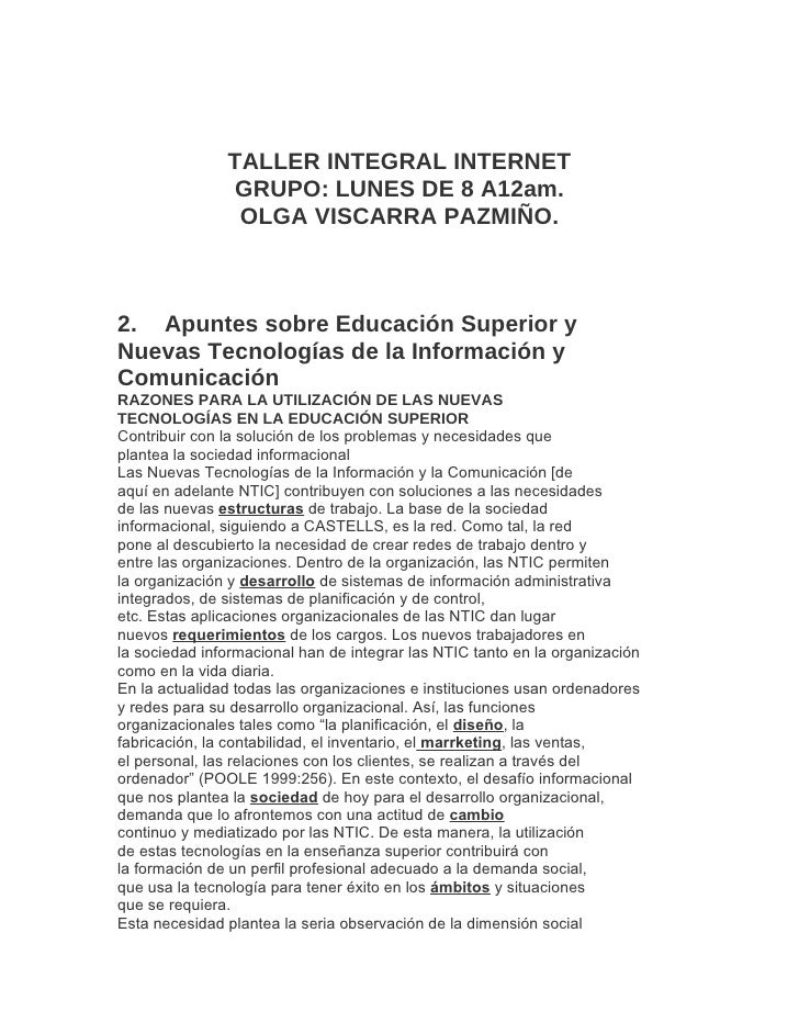TALLER INTEGRAL INTERNET                 GRUPO: LUNES DE 8 A12am.                 OLGA VISCARRA PAZMIÑO.    2. Apuntes sob...