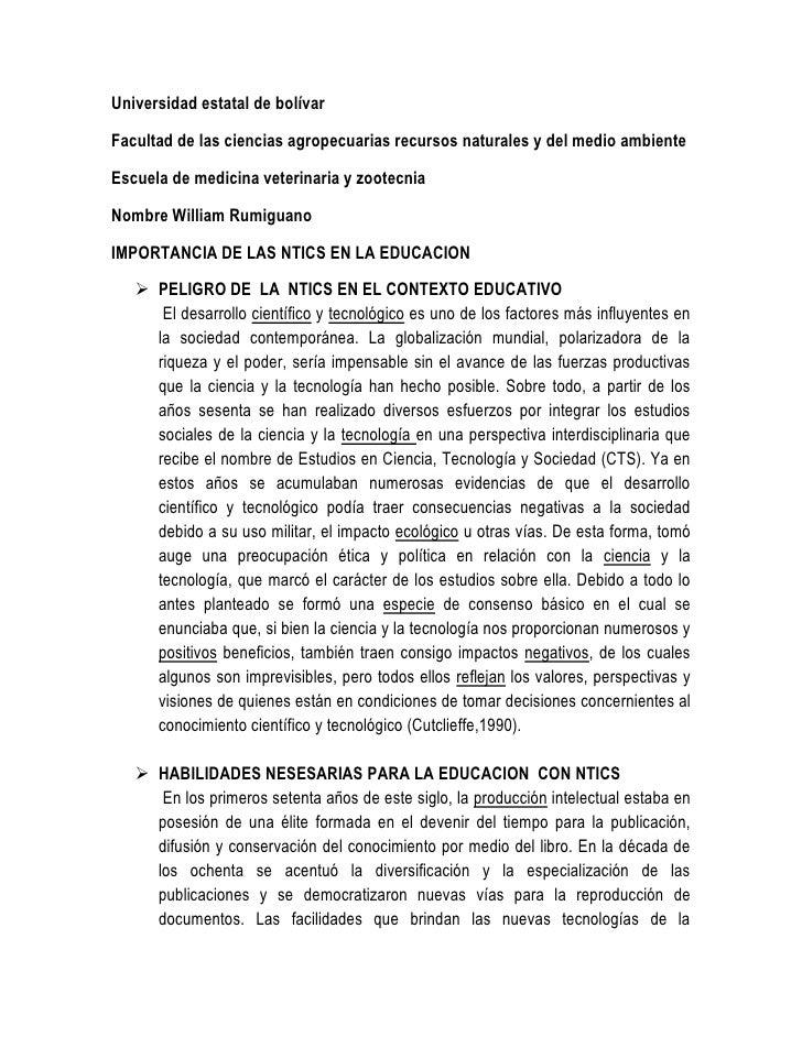 Universidad estatal de bolívar <br />Facultad de las ciencias agropecuarias recursos naturales y del medio ambiente <br />...
