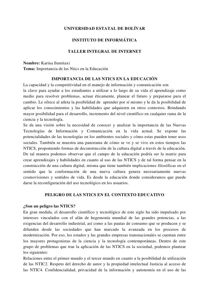 UNIVERSIDAD ESTATAL DE BOLÍVAR<br />INSTITUTO DE INFORMÁTICA<br />TALLER INTEGRAL DE INTERNET <br />Nombre: Karina llumita...