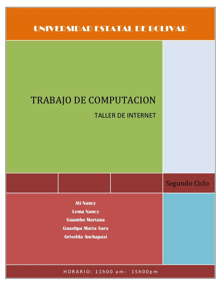 UNIVERSIDAD ESTATAL DE BOLIVARTRABAJO DE COMPUTACION                 TALLER DE INTERNET                                   ...