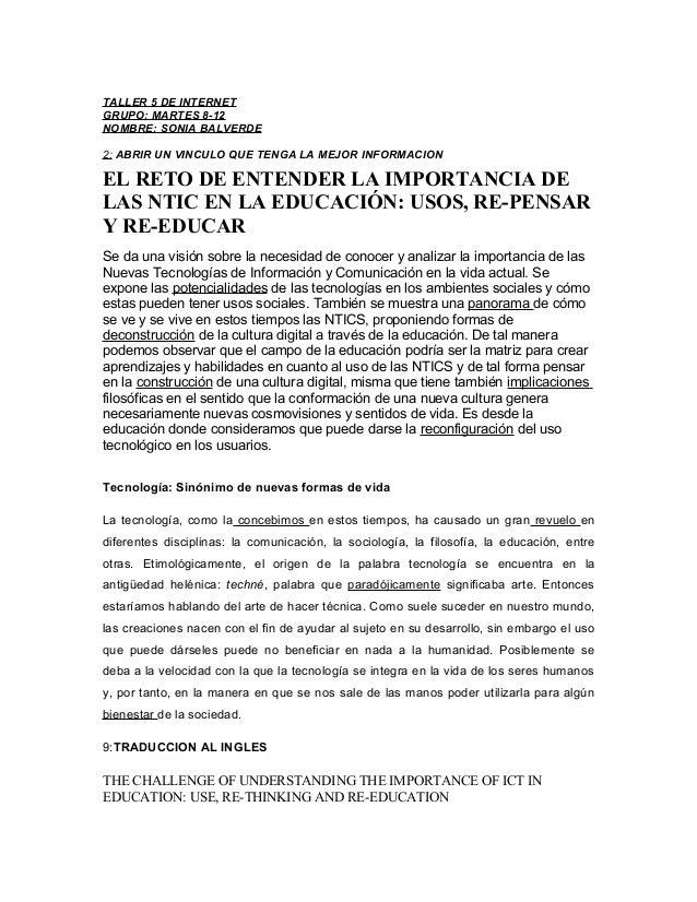 TALLER 5 DE INTERNET GRUPO: MARTES 8-12 NOMBRE: SONIA BALVERDE 2: ABRIR UN VINCULO QUE TENGA LA MEJOR INFORMACION EL RETO ...