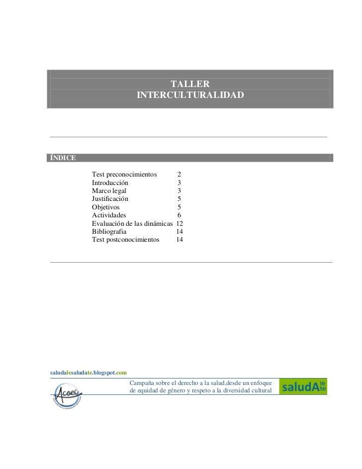 TALLER                                  INTERCULTURALIDADÍNDICE               Test preconocimientos              2        ...
