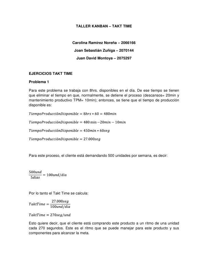 TALLER KANBAN – TAKT TIME<br />Carolina Ramírez Noreña – 2066166<br />Joan Sebastián Zuñiga – 2070144<br />Juan David Mont...