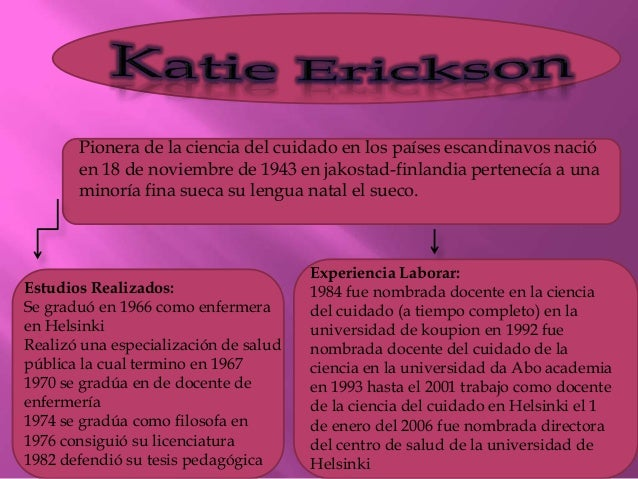 katie eriksson Eriksson, katie a nursing theorist who developed the theory of caritative care, which distinguishes between caring ethics, the practical relation between the patient.