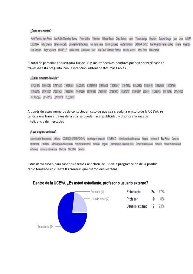 El total de personas encuestadas fue de 33 y sus respectivos nombres pueden ser verificados a través de esta pregunta con ...