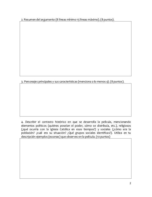 22. Resumen del argumento (8 líneas mínimo 15 líneas máximo). (8 puntos).3. Personajes principales y sus características (...