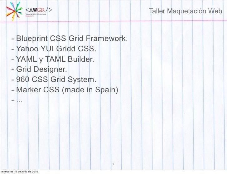 Taller maquetacion web blueprint css grid framework malvernweather Images