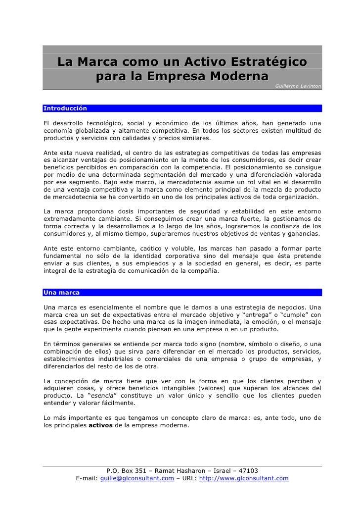 La Marca como un Activo Estratégico          para la Empresa Moderna                                                      ...