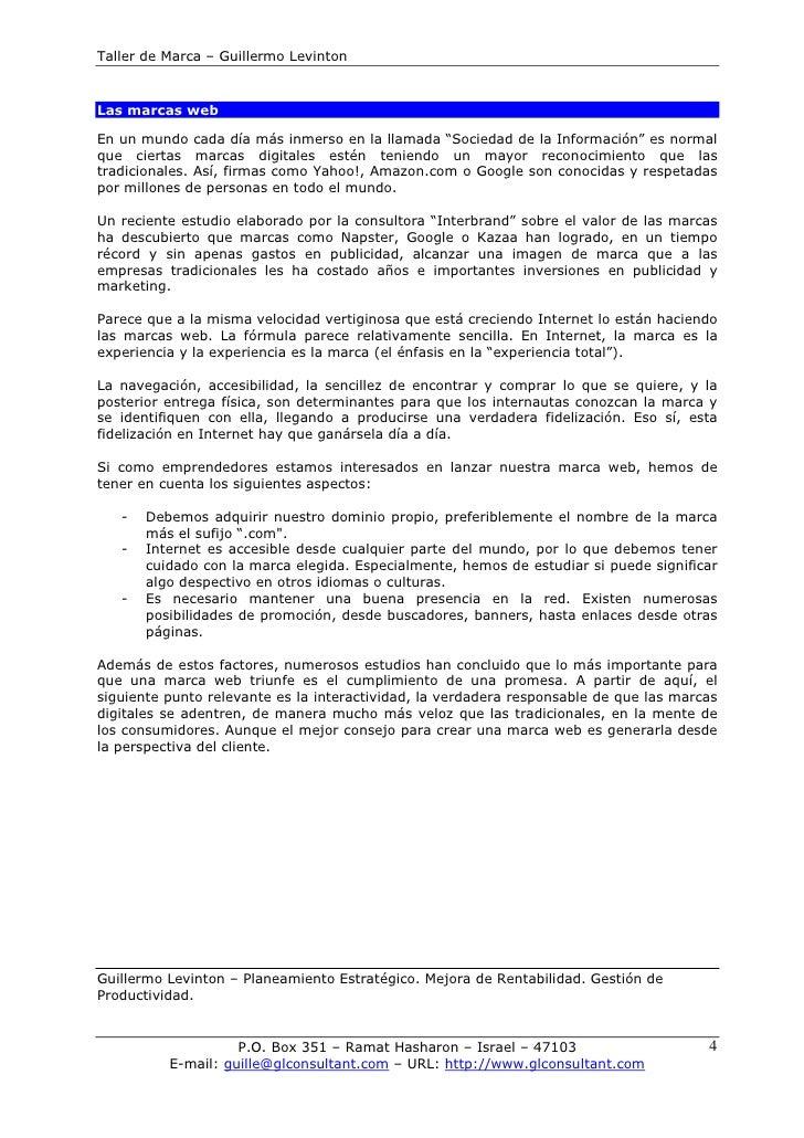 """Taller de Marca – Guillermo Levinton   Las marcas web  En un mundo cada día más inmerso en la llamada """"Sociedad de la Info..."""