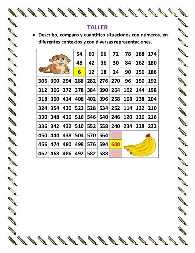 TALLER   Describo, comparo y cuantifico situaciones con números, en diferentes contextos y con diversas representaciones....