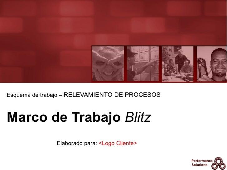 Marco de Trabajo  Blitz Esquema de trabajo –  RELEVAMIENTO DE PROCESOS