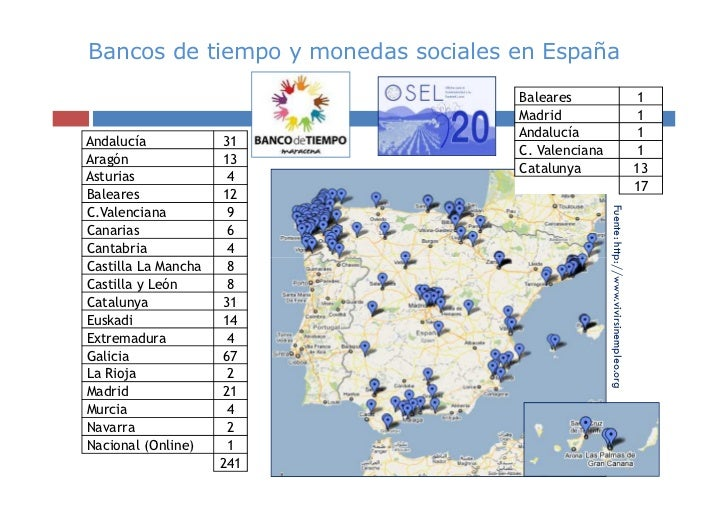 Bancos de tiempo y monedas sociales en España                                    Baleares                                 ...
