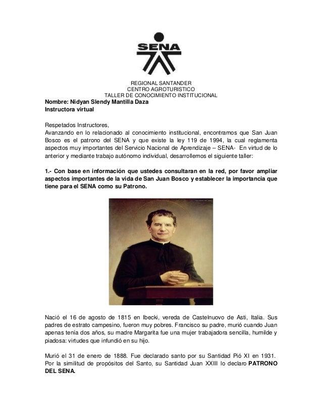REGIONAL SANTANDERCENTRO AGROTURISTICOTALLER DE CONOCIMIENTO INSTITUCIONALNombre: Nidyan Slendy Mantilla DazaInstructora v...