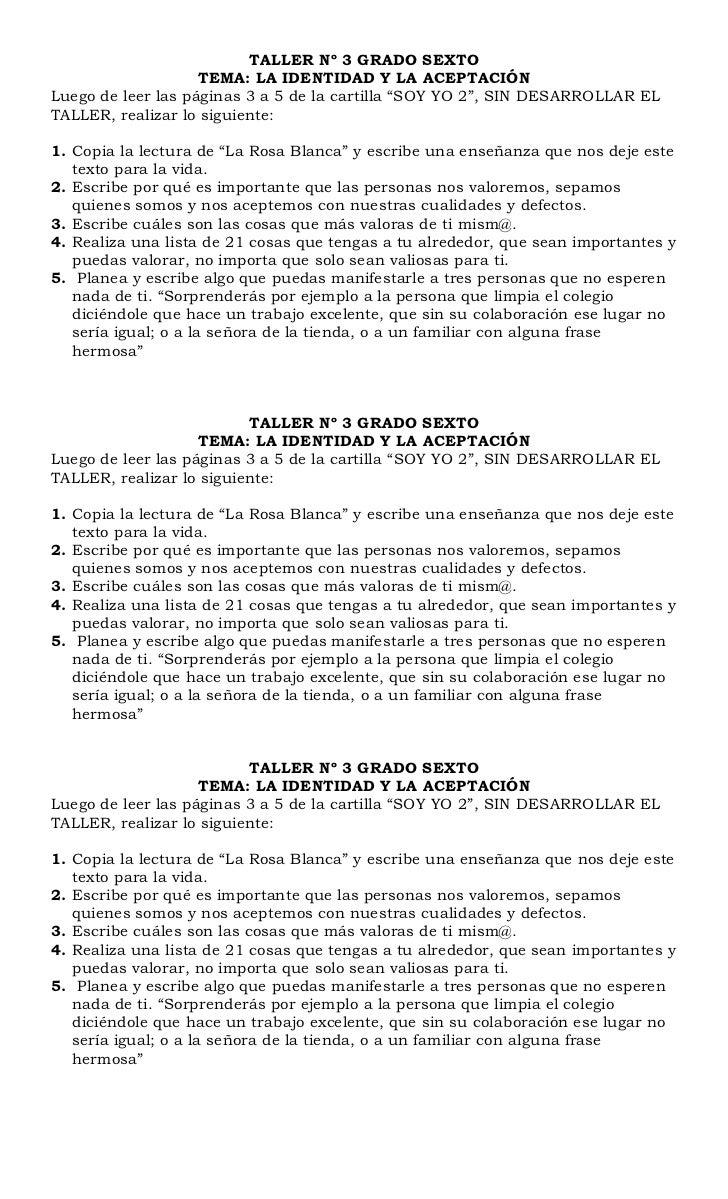 TALLER Nº 3 GRADO SEXTO                    TEMA: LA IDENTIDAD Y LA ACEPTACIÓNLuego de leer las páginas 3 a 5 de la cartill...