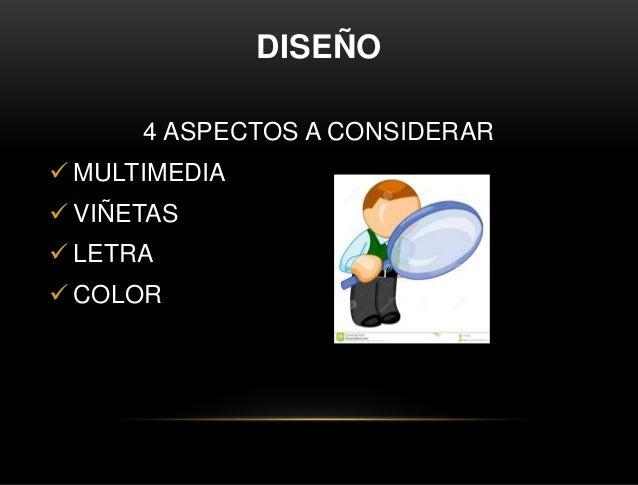 DISEÑO 4 ASPECTOS A CONSIDERAR  MULTIMEDIA  VIÑETAS  LETRA  COLOR
