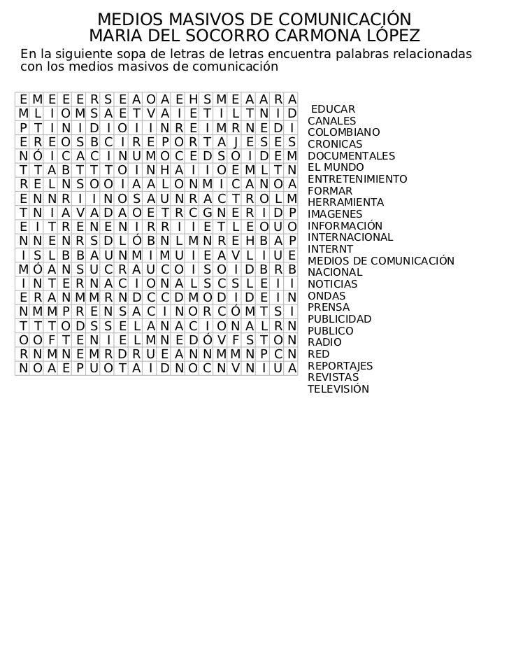 Taller n° 7 sopa de letras medios masivos de comunicación