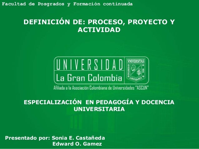 Facultad de Posgrados y Formación continuada ESPECIALIZACIÓN EN PEDAGOGÍA Y DOCENCIA UNIVERSITARIA DEFINICIÓN DE: PROCESO,...