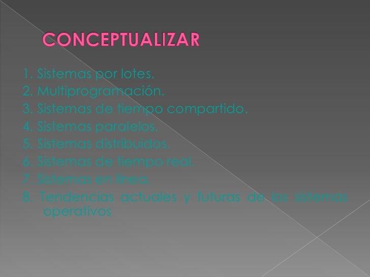 1. Sistemas por lotes.2. Multiprogramación.3. Sistemas de tiempo compartido.4. Sistemas paralelos.5. Sistemas distribuidos...