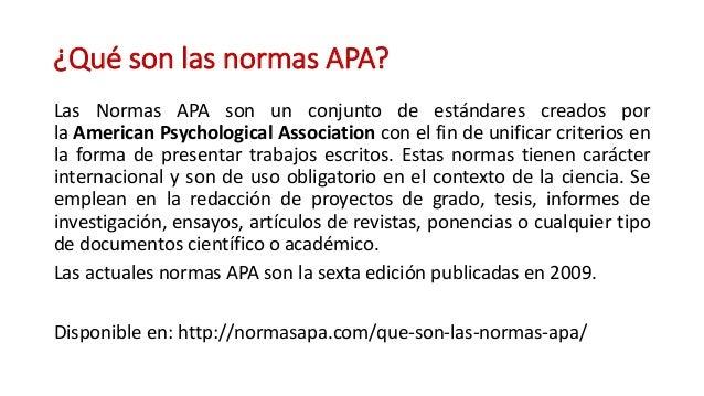 Normas APA (Sexta Edición) Slide 2