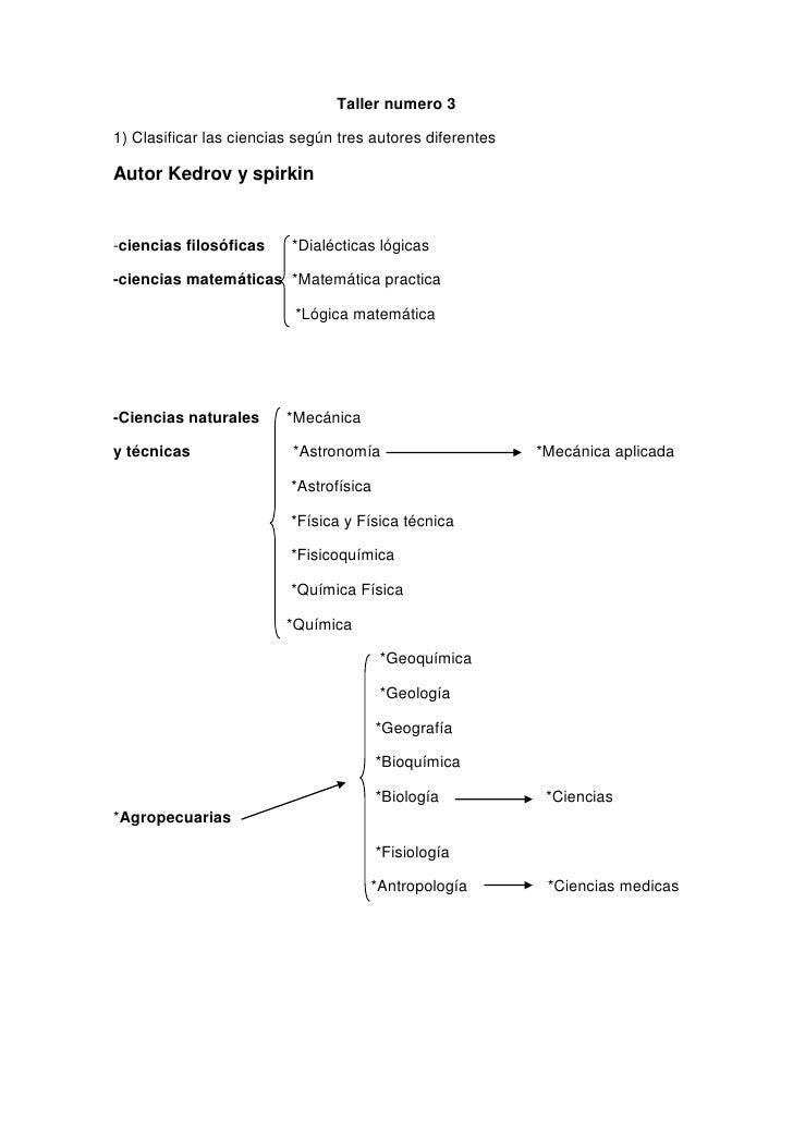 Taller numero 3<br />1) Clasificar las ciencias según tres autores diferentes <br />Autor Kedrov y spirkin<br />-ciencias ...