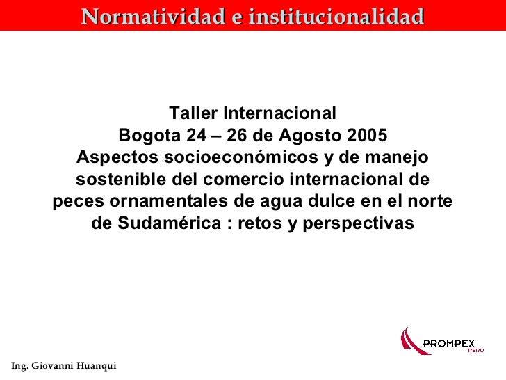 Normatividad e institucionalidad                     Taller Internacional               Bogota 24 – 26 de Agosto 2005     ...