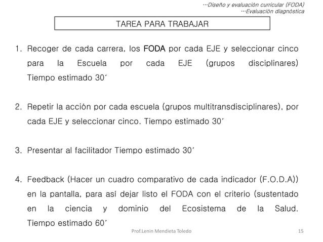 Prof.Lenin Mendieta Toledo 15 …Diseño y evaluación curricular (FODA) …Evaluación diagnóstica TAREA PARA TRABAJAR 1. Recoge...